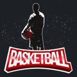 Ярлык полутонового изображения баскетбола винтажный Стоковые Фотографии RF