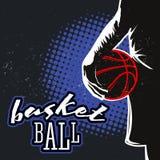 Ярлык полутонового изображения баскетбола винтажный Стоковые Изображения