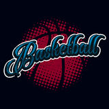 Ярлык полутонового изображения баскетбола винтажный Стоковое Изображение