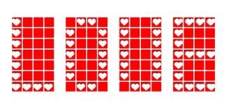 Ярлык предпосылки влюбленности с красными сердцами иллюстрация вектора