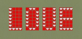 Ярлык предпосылки влюбленности с красными сердцами иллюстрация штока
