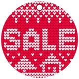 Ярлык продажи вектора вязать красный круглый Стоковые Изображения
