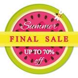 Ярлык продажи лета окончательный Включенный значок арбуза красочный Стоковые Фотографии RF