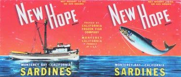 Ярлык сардины строки Cannery Стоковые Фотографии RF