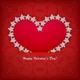Ярлык сердца от бумажного вектора карточки дня валентинок Стоковые Фотографии RF