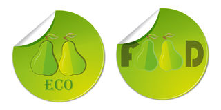 ярлык стикера с нарисованной рукой иллюстрацией логотипа дела здоровой еды вектора груши Стоковая Фотография