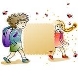 Ярлык с жизнерадостными schoolkids иллюстрация штока