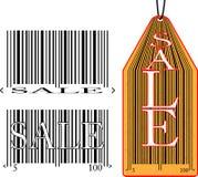 Ярлык с кодом штриховой маркировки и продажей надписи Стоковые Изображения