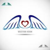Ярлык с крылами и сердцем Стоковые Изображения RF