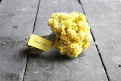 Ярлык с спасибо букетом надписи и цветка Стоковая Фотография RF