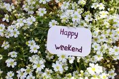Ярлык с счастливыми выходными Стоковое фото RF
