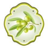 Ярлык с sprig оливки Стоковая Фотография RF