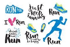 Ярлык эмблем идущего логотипа марафона человека jogging и успех значка мотивировки спринта символа спортсмена тренировки фитнеса  Стоковое Изображение