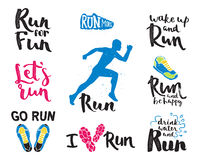 Ярлык эмблем идущего логотипа марафона человека jogging и успех значка мотивировки спринта символа спортсмена тренировки фитнеса  Стоковые Фото