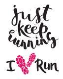 Ярлык эмблем идущего логотипа марафона jogging и успех значка мотивировки спринта символа спортсмена тренировки фитнеса работают Стоковая Фотография
