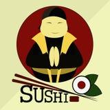 Ярлык для японского ресторана, Suhi-магазина Стоковое Изображение