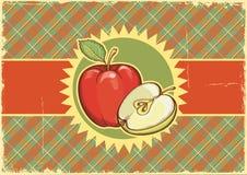 Ярлык Apples.Vintage на старом бумажном textu предпосылки Стоковая Фотография