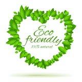 Ярлык Eco дружелюбный с влюбленностью Стоковые Изображения
