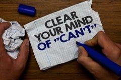 Ясность текста сочинительства слова ваш разум чонсервной банкы t не Концепция дела для имеет бумагу владением руки мотивировки по стоковое изображение rf