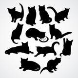 Ясные силуэты для котов и котят иллюстрация штока