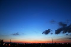 ясный заход солнца ночного неба стоковые изображения