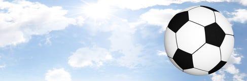 ясный футбол над небом Стоковые Изображения