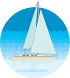Яхта в море Стоковая Фотография