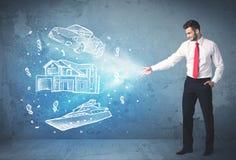 Яхта и дом автомобиля богатого человека бросая нарисованные рукой Стоковая Фотография RF