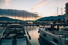Яхта Порту Черногория Зона элиты Tivat Стоковое фото RF