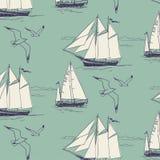 Яхта, плавает океан картина безшовная иллюстрация вектора
