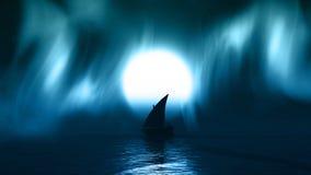 яхта 3D на море с borealis aurelia в небе Стоковое Изображение RF