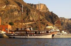 Яхта Sandorini Греция Стоковая Фотография