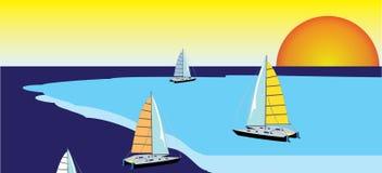яхты захода солнца неба Стоковое Изображение RF