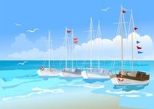 Яхты на море Стоковое Изображение