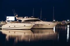 Яхты на ноче Стоковое Фото