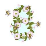 Ящики и пчелы Стилизованный венок цветков иллюстрация штока