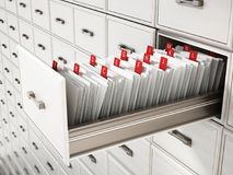 Ящик каталога библиотеки деревянный с письмами иллюстрация 3d иллюстрация штока