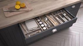 Ящик раскрытый кухней вполне kitchenware иллюстрация вектора