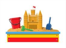 Ящик с песком деревянных детей для игр Стоковое Изображение