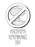 Ядерный взрыв, отсутствие войны Плакат Хиросимы и Нагасаки Стоковое фото RF
