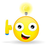Я имею хорошее emoji идеи Эмоция счастья Смайлик с электрической лампочкой над его головой Тип шаржа Smil иллюстрации вектора стоковые изображения rf