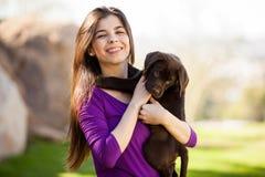Я и мой щенок вися вне Стоковое Фото