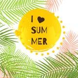 Я люблю иллюстрацию вектора лета с тропическими листьями Стоковое Фото