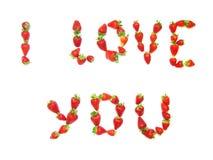 я люблю клубнику вы Стоковые Изображения