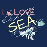 Я люблю лозунг моря с волной и раковиной Стоковое фото RF