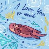я люблю много вы Милая карточка вектора с выдрами матери и ребенка также вектор иллюстрации притяжки corel иллюстрация штока