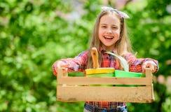 Я люблю мою работу ребенк маленькой девочки в ферме лета леса r маленькая девочка с садовничая инструментами r стоковое фото rf