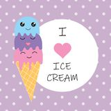 Я люблю плакат мороженого на безшовной фиолетовой предпосылке также вектор иллюстрации притяжки corel иллюстрация вектора