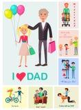 Я люблю плакат папы дочери с папой и изображениями Стоковое Фото