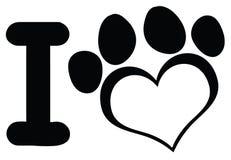 Я люблю собаку с черным дизайном логотипа печати лапки сердца иллюстрация штока
